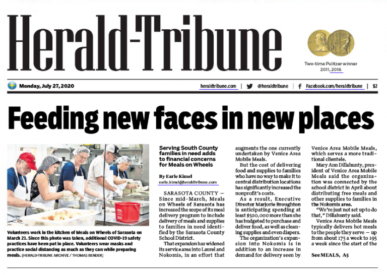 Herald-Tribune Article Preview: https://mainstreetlakewoodranch.com/pandemic-deliveries-stretch-resources-at-meals-on-wheels/